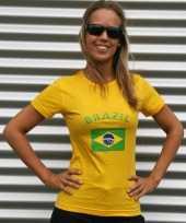 Goedkope dames t-shirt met de braziliaanse vlag
