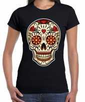 Goedkope day of the dead sugar skull rocker t-shirt zwart voor dames