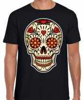Goedkope day of the dead sugar skull rocker t-shirt zwart voor heren