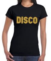 Goedkope disco gouden letters fun t-shirt zwart voor dames