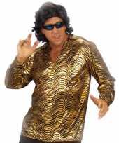 Goedkope disco verkleedkleren goud overhemd