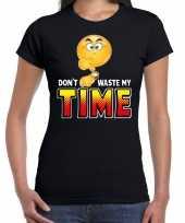 Goedkope dont waste my time emoticon fun shirt dames zwart
