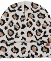 Goedkope dubbel laagse gebreide muts voor kinderen met luipaard print beige