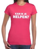 Goedkope evenementen tekst t-shirt roze met kan ik je helpen bedrukking voor dames
