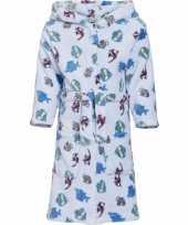 Goedkope fleece badjas lichtblauw vissenprint voor kinderen