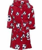 Goedkope fleece badjas rood voetbalprint voor jongens