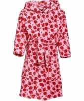 Goedkope fleece badjas roze aardbeienprint voor meisjes