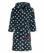 Goedkope fleece kinder badjassen ochtendjassen blauw met hartjes voor kinderen