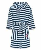 Goedkope fleece kinder badjassen ochtendjassen blauw witte strepen voor kinderen