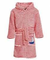 Goedkope fleece kinder badjassen ochtendjassen rood witte strepen voor kinderen