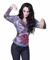 Goedkope fotorealistisch bloederige zombie shirt voor dames