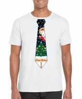 Goedkope fout kerst-shirt wit kerstboom stropdas voor heren