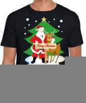 Goedkope fout kerstmis shirt zwart met de kerstman en rudolf voor heren