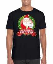 Goedkope foute kerst-shirt zwart merry fucking christmas voor heren
