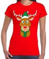 Goedkope foute kerst t-shirt rood met ruldolf het rendier met groene muts voor dames