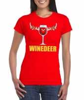 Goedkope foute kerstborrel t-shirt rood winedeer dames