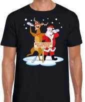 Goedkope foute kerstmis shirt zwart met een dronken kerstman en rudolf voor heren