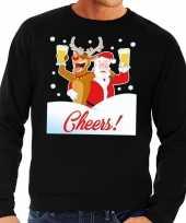 Goedkope foute kersttrui cheers met dronken kerstman en rudolf voor heren 10129098