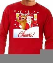 Goedkope foute kersttrui cheers met dronken kerstman en rudolf voor heren 10129099