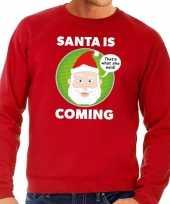 Goedkope foute kersttrui rood santa is coming voor heren