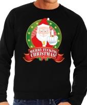 Goedkope foute kersttrui zwart kerstman met middelvinger merry fucking christmas heren