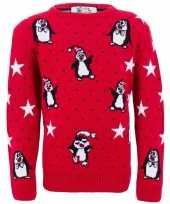 Goedkope foute kinder kersttrui met pinguins
