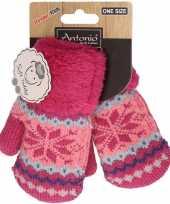 Goedkope fuchsia roze gebreide handschoenen met noorse print voor peuters