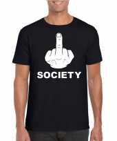 Goedkope fuck society shirt zwart voor heren
