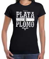 Goedkope gangster shirt met narcos plata o plomo bedrukking zwart voor dames