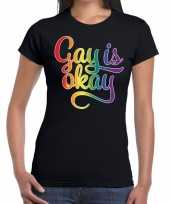 Goedkope gay is okay gaypride tekst fun shirt zwart dames