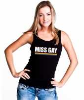 Goedkope gay pride lesbo tanktop shirt zwart miss gay dames