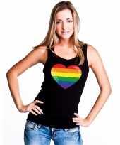Goedkope gay pride mouwloos shirt regenboog vlag in hart zwart dames