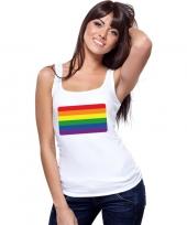 Goedkope gay pride mouwloos shirt regenboog vlag wit dames