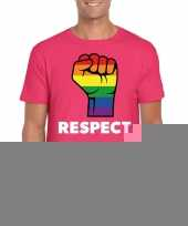 Goedkope gay pride respect lgbt-shirt roze heren