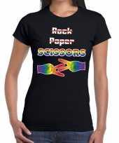 Goedkope gaypride rock paper scissors t-shirt zwart dames