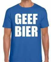 Goedkope geef bier fun t-shirt voor heren blauw
