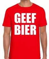 Goedkope geef bier fun t-shirt voor heren rood