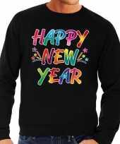 Goedkope gekleurde happy new year sweater trui zwart voor heren