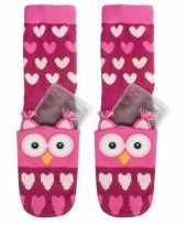 Goedkope gel sokken roze uil voor kinderen
