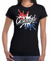 Goedkope geslaagd kado t-shirt met spetter effect zwart voor dames