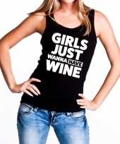 Goedkope girls just wanna have wine fun tanktop mouwloos shirt zwart voor dames