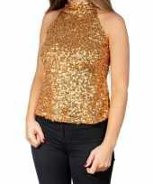 Goedkope glitter pailletten stretch halter shirt topje goud dames