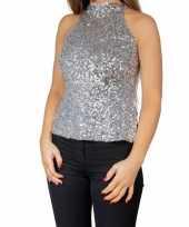 Goedkope glitter pailletten stretch halter shirt topje zilver dames