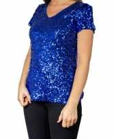 Goedkope glitter pailletten stretch shirt blauw dames