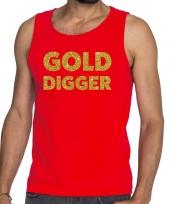 Goedkope gold digger fun tanktop mouwloos shirt rood voor heren