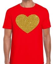 Goedkope gouden hart fun t-shirt rood voor heren
