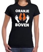 Goedkope grappig oranje boven t-shirt zwart voor koningsdag of het ek wk voor dames