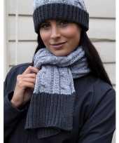 Goedkope grijze gebreide sjaal met muts voor dames