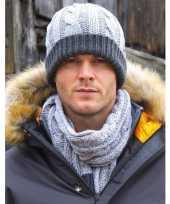 Goedkope grijze gebreide sjaal met muts voor heren