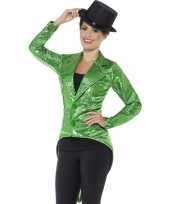 Goedkope groene pailletten circus jas voor dames
